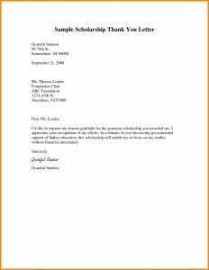 Teacher Appreciation Letter Template From Student - Scholarship Thank You Letter Template Collection