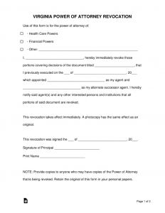 Template for Power Of attorney Letter - Free Virginia Revocation Of Power Of attorney form Word