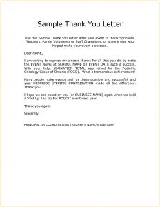 Template for Thank You Letter for Donation - Thank You Letters for Sponsorship Donations