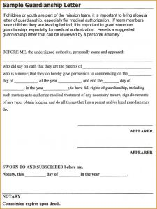 Temporary Guardianship Letter Template - Free Temporary Custody Letter Sample