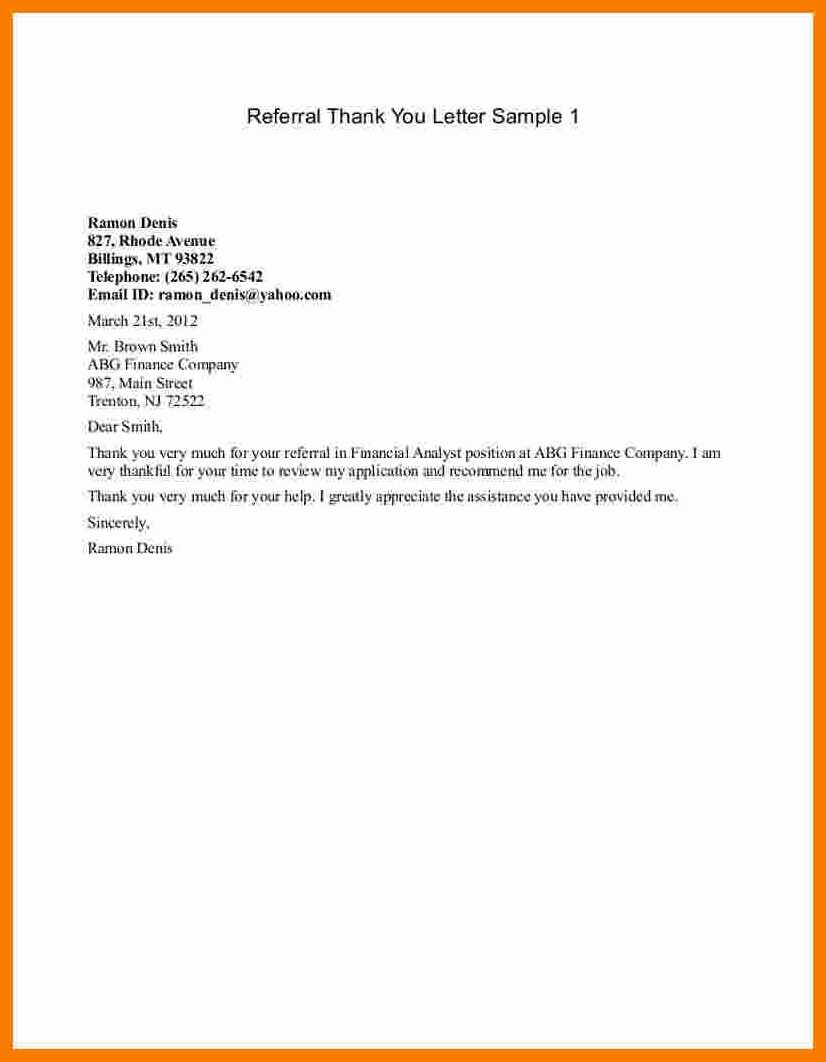 9 Thank You Letter to Referring Physician Template Inspiration