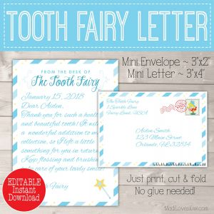 Tooth Fairy Letter Template Boy - Personalized tooth Fairy Letter Kit Boy Printable Download
