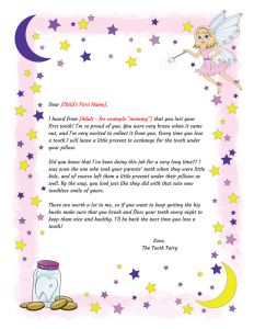 Tooth Fairy Letter Template Boy - tooth Fairy Letter First tooth Printable Intended for tooth Fairy