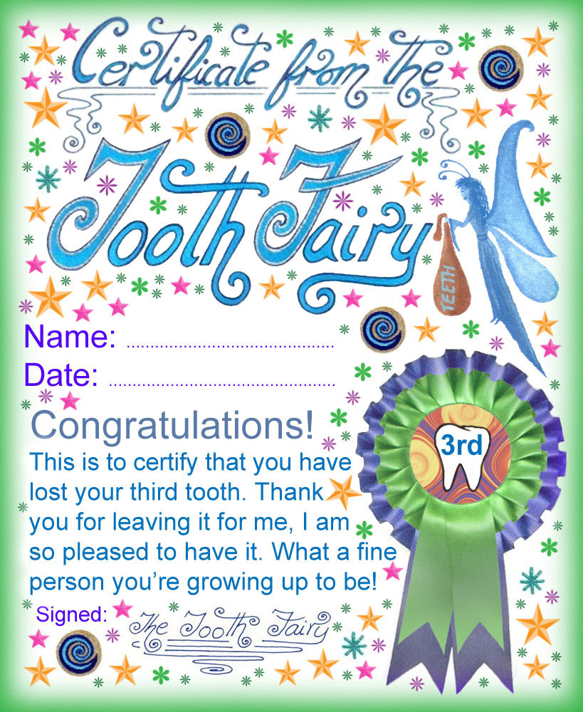 tooth fairy letter template boy Collection-A certificate from the Tooth Fairy for a child who has lost his or her third 13-n