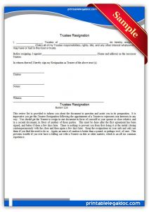 Trustee Resignation Letter Template - Printable Trustee Resignation Template