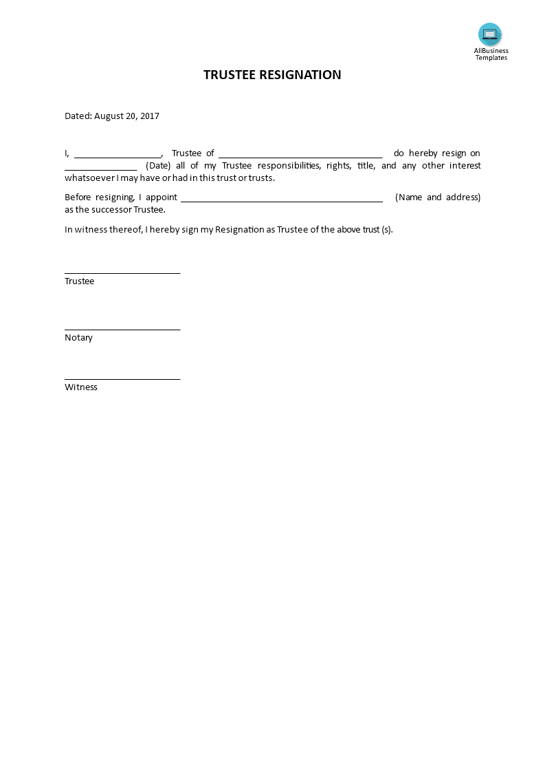 trustee resignation letter template Collection-Trustee resignation How to write a Trustee resignation Download this Trustee resigns from a 6-m