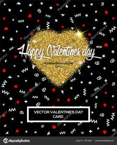 Valentine Letter Template - Happy Valentines Day Greeting Card or Poster with Glitter Golden