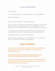 Voluntary Demotion Letter Template - Demotion Letter Template Examples