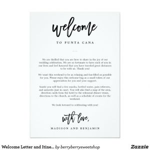 Wedding Hotel Welcome Letter Template - Wel E Letter and Itinerary Wedding Wel E Bag In 2018