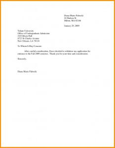 Withdrawal From School Letter Template - Letter Application withdrawal Best Application for College