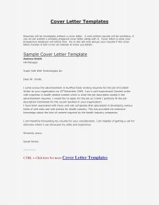 Writing A Covering Letter Template - Specific Cover Letter